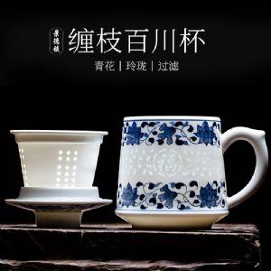 陶瓷茶杯礼品厂家,景德镇骨瓷水杯泡茶杯带盖