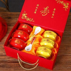 景德镇红色寿碗加字 八十岁老人做寿礼品寿碗加印照片图片