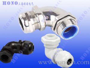 上海焕诺电气HONO90度尼龙电缆接头,90度黄铜镀镍接头