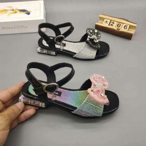 浙江温州新款蝴蝶结坡跟大童公主凉鞋批发