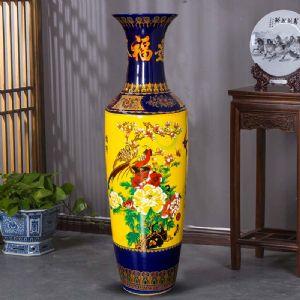 酒店大厅装饰大花瓶,景德镇高档手绘落地大花瓶礼品