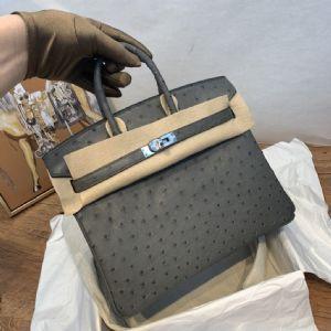 顶 级原 单纯手工鸵鸟皮高端包包工厂一手货源图片