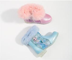 艾丽沙冰雪奇缘两个色女童鞋平底保暖靴子